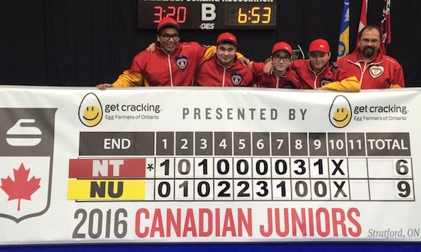 Team Nunavut, after its first win, from left, Arthur Siksik, Tyson Komaksiutiksak, Javen Komaksiutiksak, Ryan Aggark and coach Sean Turriff. (Photo, Curling Canada)