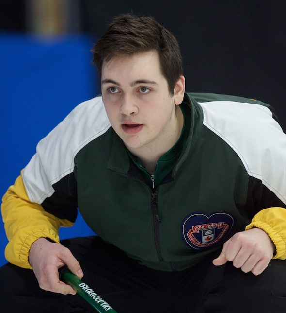 Northern Ontario skip Tanner Horgan clinched a berth in the Championship round with a win on Tuesday. (Photo, Curling Canada/Bob Wilson)