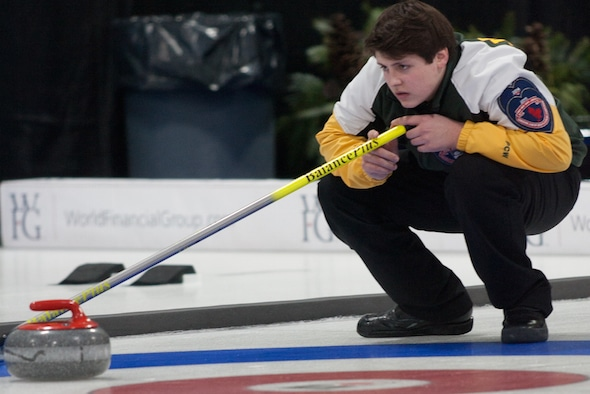 Northern Ontario vice-skip Jake Horgan keeps an eye on things during his team's win over Northern Ontario. (Photo, Curling Canada/Bob Wilson)