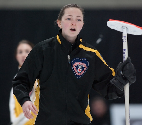 New Brunswick skip Justine Comeau and her team won a third-place tiebreaker on Friday to advance to Saturday's semifinal. (Photo, Curling Canada/Bob Wilson)