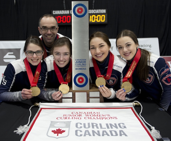 Canadian champs! From left, Mary Fay, Andrew Atherton (coach), Kristin Clarke, Karlee Burgess and Janique LeBlanc. (Photo, Curling Canada/Michael Burns)