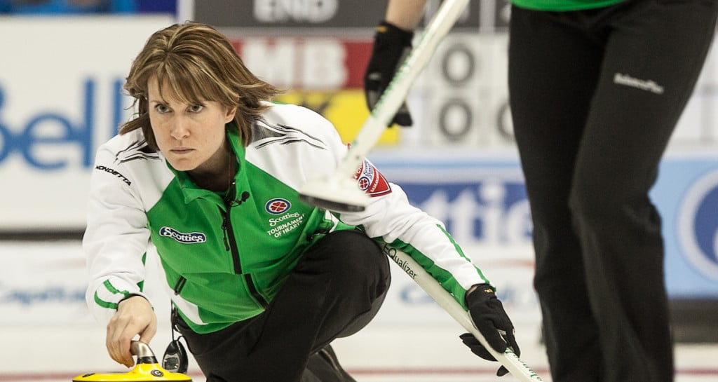 Saaskatchewan skip Stefanie Lawton in the bronze medal game at the 2014 Scotties Tournament of Hearts, the Canadian Womens Curling Championships, Montreal Quebec
