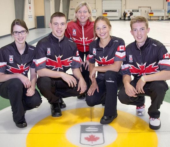 Team Canada, from left, Mary Fay, Tyler Tardi, coach Helen Radford, Karlee Burgess, Sterling Middleton.