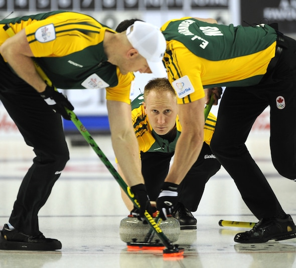 Brad Jacobs and his teammates Ryan Harnden, left, E.J. Harnden, right, and Ryan Fry (not pictured) are taking aim at another Northern Ontario championship this weekend. (Photo, Curling Canada/Michael Burns)