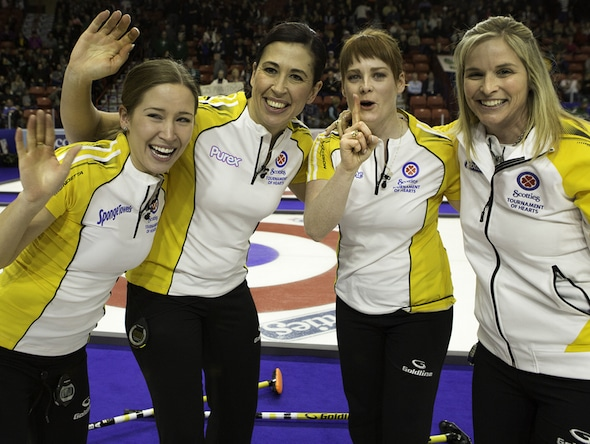 Jennifer Jones, far right, and her team of, from left, Kaitlyn Lawes, Jill Officer and Dawn McEwen are looking for back-to-back titles at the 2016 Scotties Tournament of Hearts. (Photo, Curling Canada/Andrew Klaver)