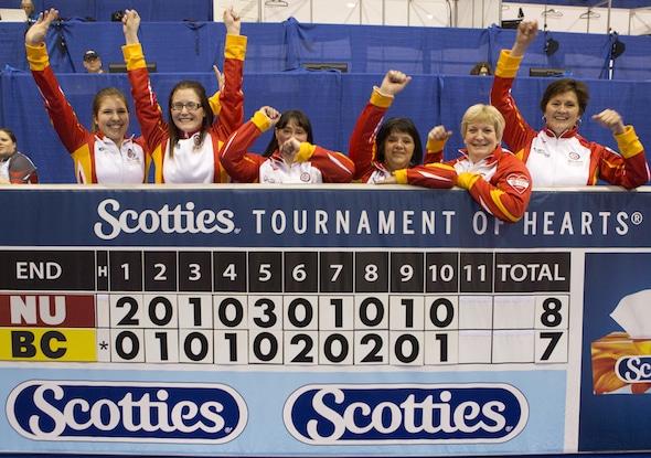 Team Nunavut, after its first win at the Scotties, from left, alternate Sadie Pinksen, lead Jenine Bodner, second Robin Mackey, third Denise Hutchings, skip Geneva Chislett and coach Donalda Mattie. (Photo, Curling Canada/Andrew Klaver)