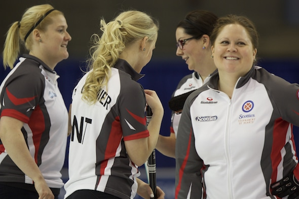 Kerry Galusha, right, and her Territories teammates, from left, Shona Barbour, Megan Cormier and Danielle Derry, are 2-0 in pre-qualifying at the 2016 Scotties. (Photo, Curling Canada/Andrew Klaver)