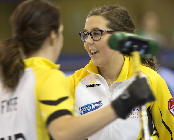 Manitoba skip Selena Kaatz in Hoshots action at the 2016 Scotties Tournament of Hearts, the Canadian Womens Curling Championships, Grande Praire, Alberta