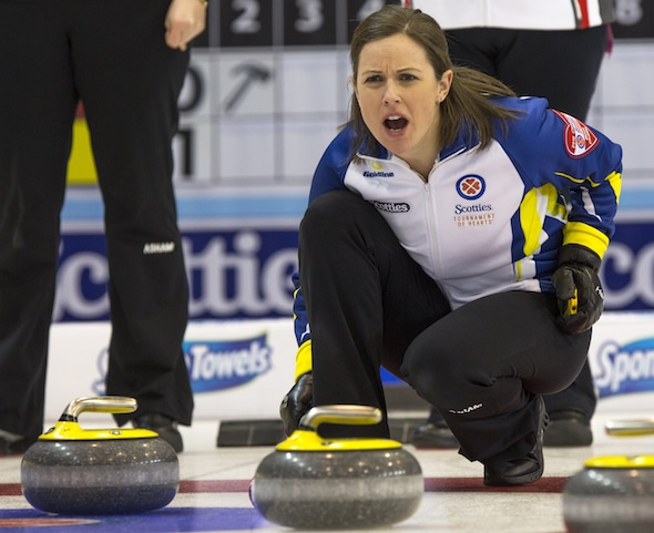 B.C. skip Karla Thompson calls instructions to her sweepers during her team's crucial win over the Territories on Friday. (Photo, Curling Canada/Andrew Klaver)