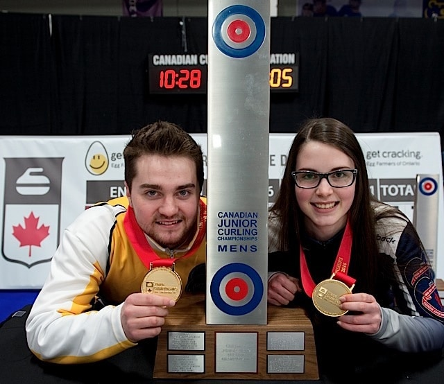 Stratford Ont.Jan 31 2016.Canadian Junior Curling Championship.Manitoba skip Matt Dunstone, Nova Scotia skip Mary Fay, Curling Canada/michael burns photo