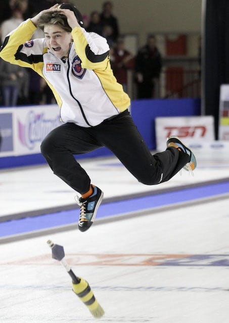 Feb 9/13 - Fort McMurray, AB - M&M Meat Shops Junior Curling Championships - Men's Final - Manitoba skip, Matt Dunstone celebrates win over Alberta - CCA/Michael Burns Photography/Mark O'Neill Photo