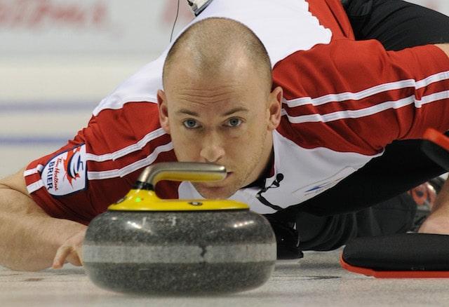 London Ont.Mar7_2011.CCA Tim Hortons Brier.Newfoundland Labrador's third,Ryan Fry delivers his stone in thier morning draw against Saskatchewan.NL defeats Saskatchewan 7-6.michael burns photo