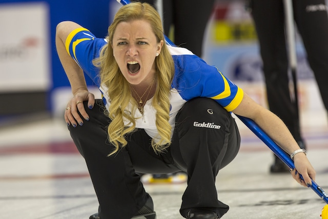 Team Alberta skip Chelsea Carey in draw six action at the 2016 Scotties Tournament of Hearts, the Canadian Womens Curling Championships, Grande Praire, Alberta