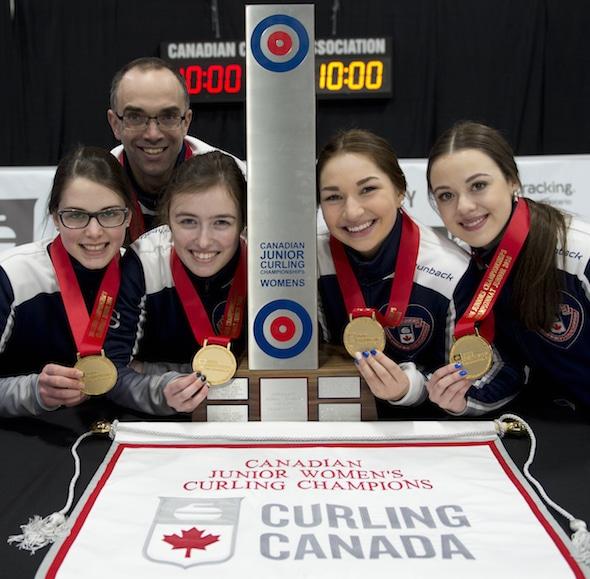 Stratford Ont.Jan 31 2016.Canadian Junior Curling Championship. Nova Scotia skip Mary Fay, third Kristin Clarke, second Karlee Burgess, lead Janique LeBlanc, coach Andrew Atherton, Curling Canada/ michael burns photo