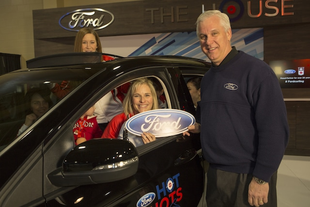 Jennifer Jones celebrates winning a Ford in the 2016 Ford Hot Shots competition at the 2016 Scotties Tournament of Hearts in Grande Prairie, AB (Curling Canada/Andrew Klaver photo)