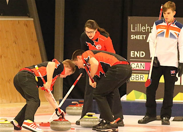 Team Canada skip Mary Fay calls to sweepers Sterling Middleton and Tyler Tardi during Day 2 action against Great Britain's Ross Whyte at the 2016 Youth Olympic Games (WCF/Richard Gray photo)