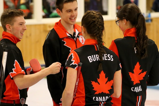 Team Canada's Sterling Middleton, Karlee Burgess, Tyler Tardi and Mary Fay celebrate their semifinal win over Switzerland at the 2016 Youth Olympic Games in Lillehammer, Norway (WCF/Richard Gray photo)