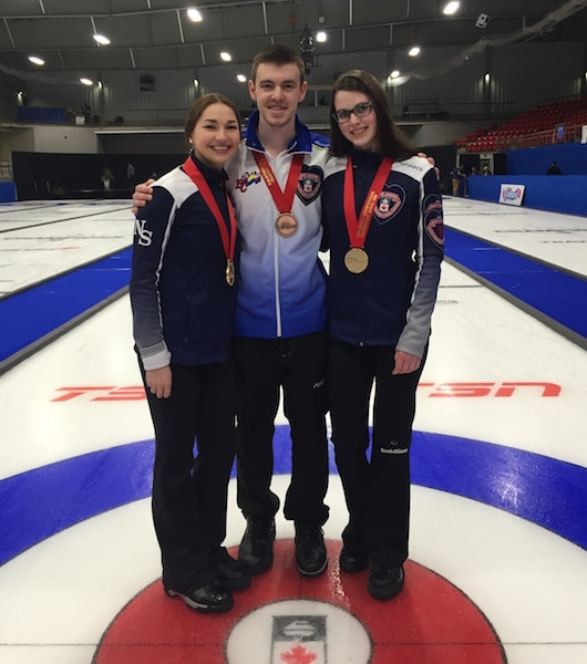 Karlee Burgess, Tyler Tardi, Mary Fay (Curling Canada/Michael Burns photo)