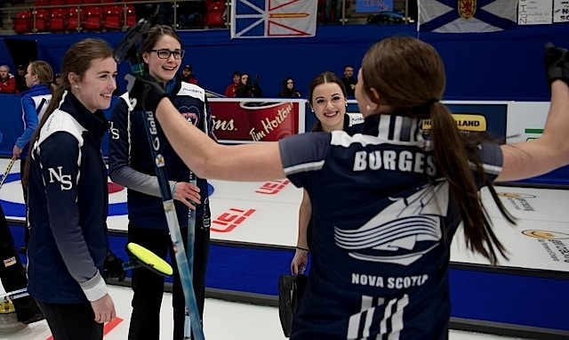 Team Nova Scotia (l-r): Kristin Clarke, Mary Fay, Janique LeBlanc and Karlee Burgess celebrate their gold-medal victory at the 2016 Canadian Junior Curling Championships in Stratford, Ont. (Curling Canada/Michael Burns photo)