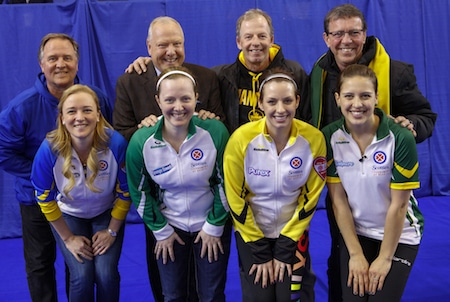 The 2016 Scotties Tournament of Hearts second all-star team and their Brier champion dads. From left, front, skip Chelsea Carey, third Ashley Howard, second Liz Fyfe and lead Sarah Potts. Back, Dan Carey, Russ Howard, Vic Peters and Rick Lang. (Photo, Curling Canada/Andrew Klaver)