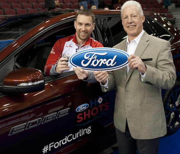 Brad Gushue, winner of the 2016 Ford Hot Shots competition, with Mike Herniak, General Manager-Eastern Area for Ford of Canada. (Photo, Curling Canada/Michael Burns)