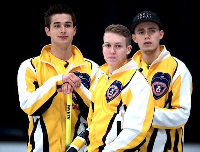 Stratford Ont.Jan 30 2016.Canadian Junior Curling Championship. Manitoba lead Rob Gordon, second Kyle Doering, third Colton Lott, (Curling Canada/ michael burns photo)