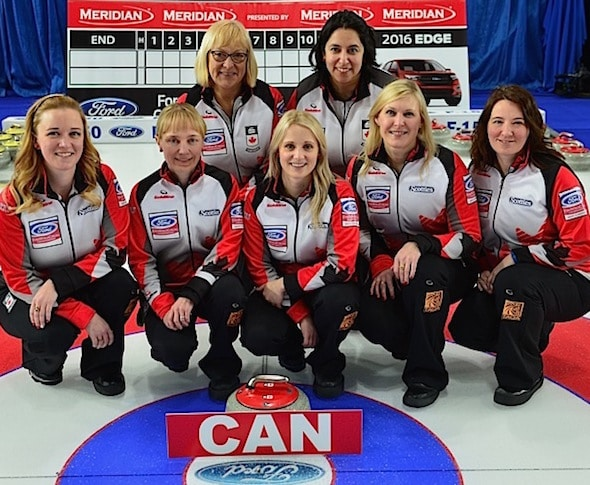 TEAM CANADA (right to left) Skip: Chelsea Carey Third: Amy Nixon Second: Jocelyn Peterman Lead: Laine Peters Alternate: Susan O'Connor Coach: Charley Thomas, WCF/Curling Canada/ michael burns photo