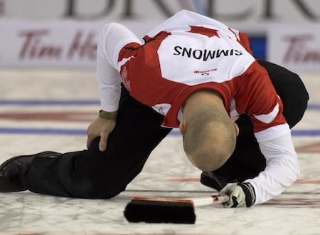 Team Canada skip Pat Simmons shows his disappointment. (Photo, Curling Canada/Michael Burns)