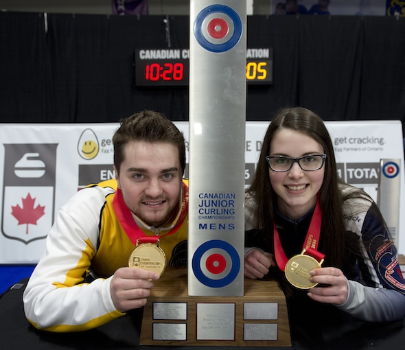 Matt Dunstone and Mary Fay will skip the Canadian teams at the 2016 World Junior Curling Championships, beginning on Sunday. (Photo, Curling Canada/Michael Burns)