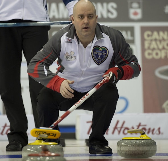 Jamie Koe and his team from Yellowknife are off to a 2-0 start in the Tim Hortons Brier pre-qualifying round. (Photo, Curling Canada/Michael Burns)