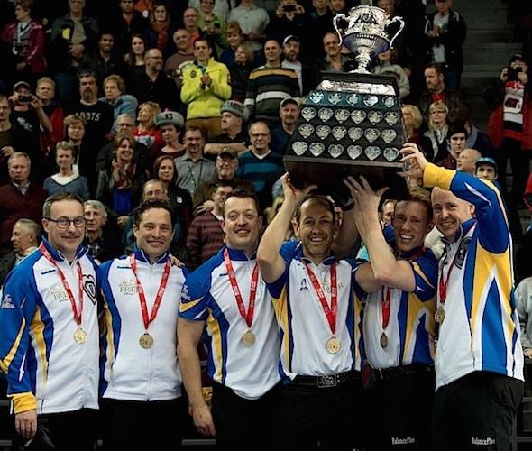 Ottawa Ont.Mar 13, 2016.Tim Hortons Brier.Alberta (L-R) coach John Dunn, Alternate Scott Pfeifer, lead Ben Hebert, second Brent Laing, third Marc Kennedy, skip Kevin Koe, Curling Canada/ michael burns photo