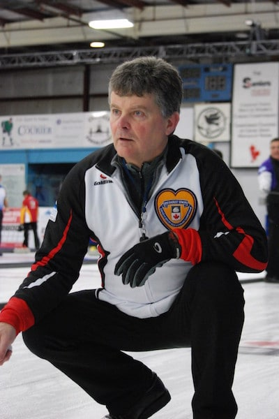 Bryan Cochrane of Ontario watches his rock during the final game of round robin play at the 2016 Everest Canadian Seniors Curling Championship in Digby, N.S. (Curling Canada/Mike Lewis photo)