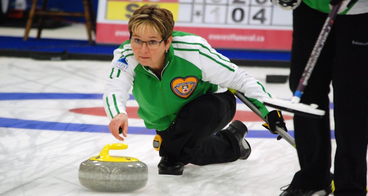 Teams Now Set For Championship Pool At Seniors Curling Canada Overall Cathy Sherry Anderson Of Saskatchewan Delivers Her Rock In A 6 5 Win Over Alberta To