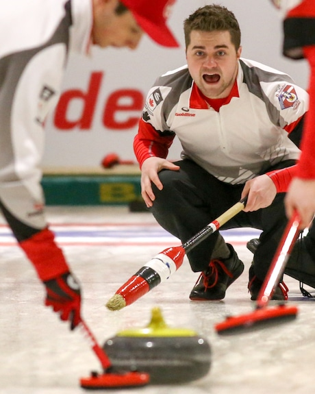 Matt Dunstone, skip of Team Canada, calls the line during Day 1 action of the 2016 World Junior Curling Championships at theTaarnby Curling Club in Taarnby, Denmark (WCF/Richard Gray photo)