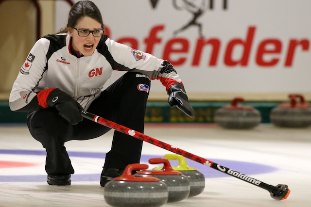 Skip Mary Fay calls to her sweepers in a win over Turkey at the 2016 World Junior Curling Championships (WCF/Richard Gray photo)