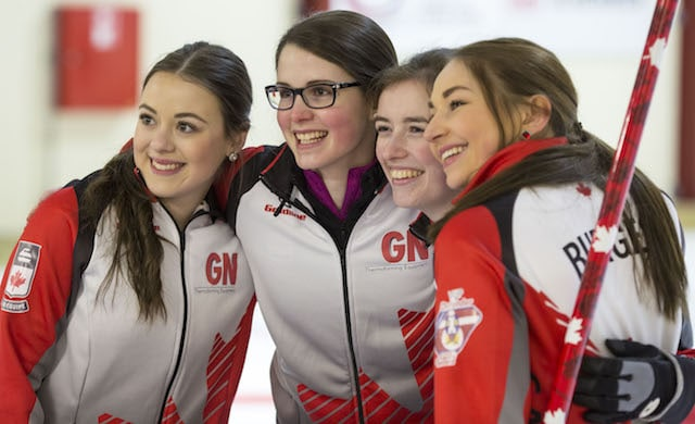 Gold-medal smiles from Team Canada's Janique LeBlanc (lead), Mary Fay (skip), Kristin Clarke (third) and Karlee Burgess (second) after defeating USA in the final of the 2016 World Junior Curling Championships in Taarnby, Denmark (WCF/Marissa Tiel photo)