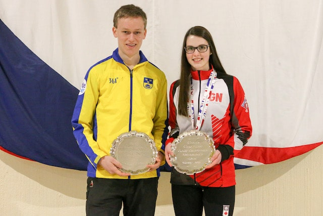 Fredrik Nyman and Mary Fay, recipients of the WJCC 2016 Sportsmanship Awards at the 2016 World Curling Championships in Taarnby, Denmark (WCF/Richard Gray photo)