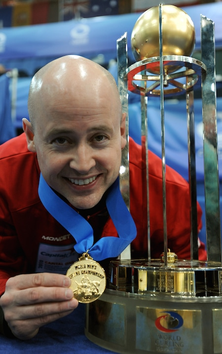 Kevin Koe won gold in 2010 as Team Canada skip in Cortina d'Ampezzo, Italy. (Photo, Curling Canada/Michael Burns)