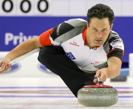Team Canada alternate Scott Pfeifer played in Thursday night's win over Denmark. (Photo, World Curling Federation/Richard Gray)