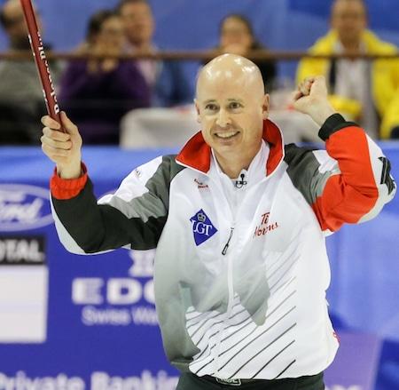 Canadian skip Kevin Koe celebrates winning the world championship. (Photo, World Curling Federation/Richard Gray)