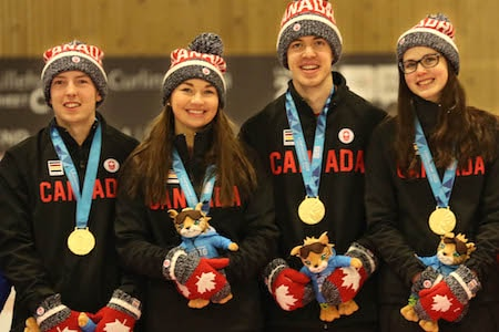 2016 Youth Winter Olympics gold-medallists, from left, Sterling Middleton, Karlee Burgess, Tyler Tardi, Mary Fay. (Photo, World Curling Federation/Richard Gray)