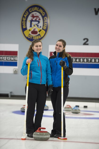 (left to right) Calissa and Camille Daly on the ice at the Rideau Curling Club in Ottawa (Photo by Kevin Daly)