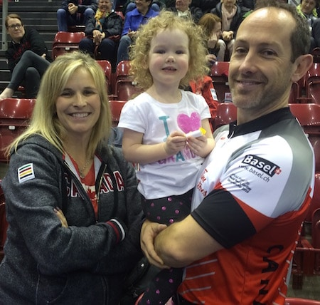 It was a happy family after Tuesday morning's win. From left, Jennifer Jones, Isabella and Brent Laing.