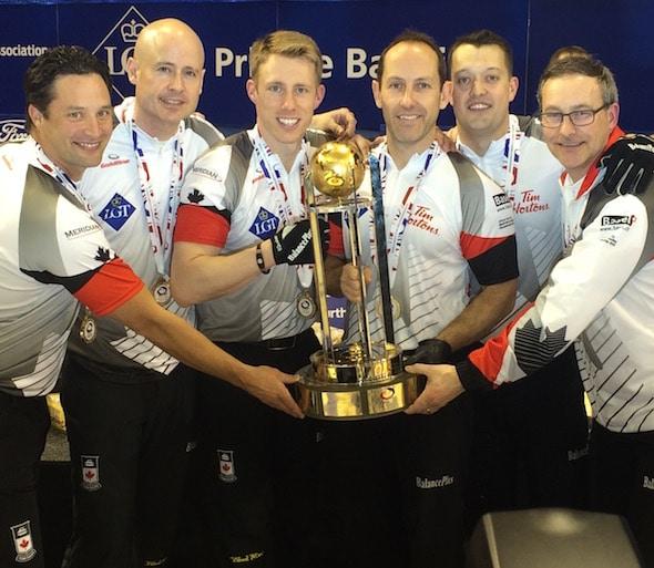 Team Canada, from left, Scott Pfeifer, Kevin Koe, Marc Kennedy, Brent Laing, Ben Hebert and coach John Dunn. (Photo, Curling Canada)