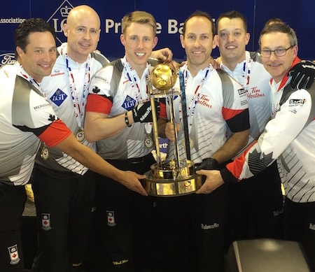 2016 World Men's champs, from left, Scott Pfeifer, Kevin Koe, Marc Kennedy, Brent Laing, Ben Hebert, John Dunn. (Photo, Curling Canada)