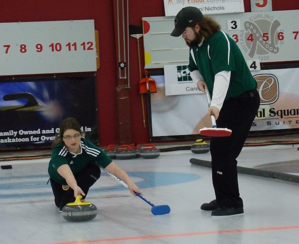 Sabrina Smith and Kyle Holland, of P.E.I., scored a surprise win over pre-tournament favourites, Stefanie Lawton and Steve Laycock (Curling Canada/Darlene Danyliw photo)