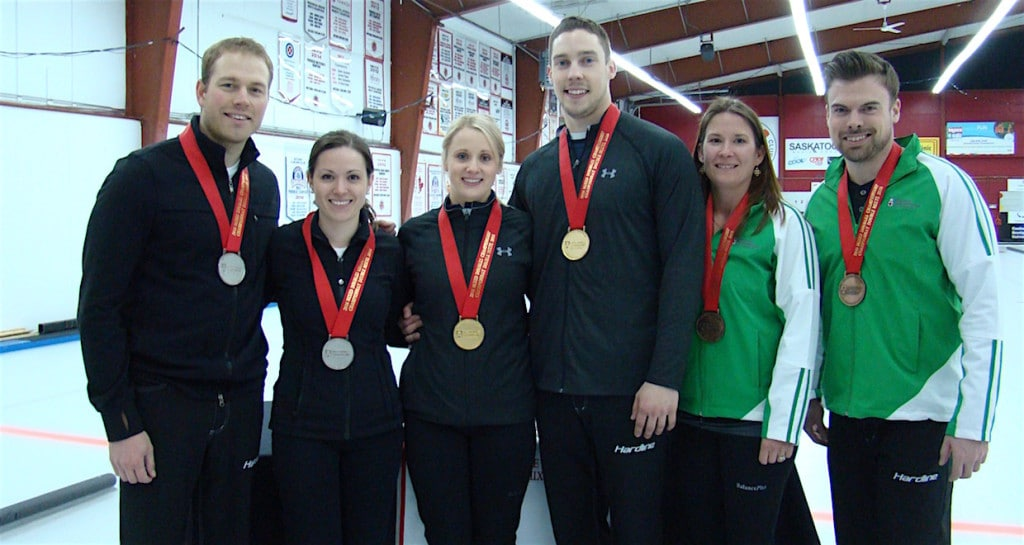(From left to right) 2016 Canadian Mixed Doubles medallists:Silver medallists Geoff Walker and Laura Crocker; gold medallists Jocelyn Peterman and Brett Gallant; bronze medallists Marliese Kasner and Dustin Kalthoff (Curling Canada/Darlene Danyliw photo)