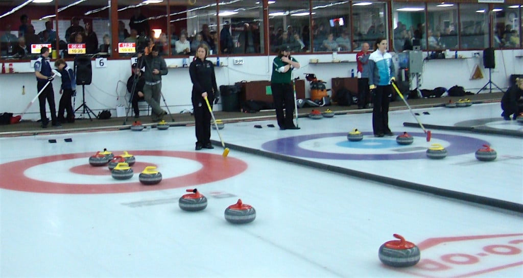 Action on the ice at the 2016 Mixed Doubles Curling Championship in Saskatoon (Curling Canada/Darlene Danyliw photo)