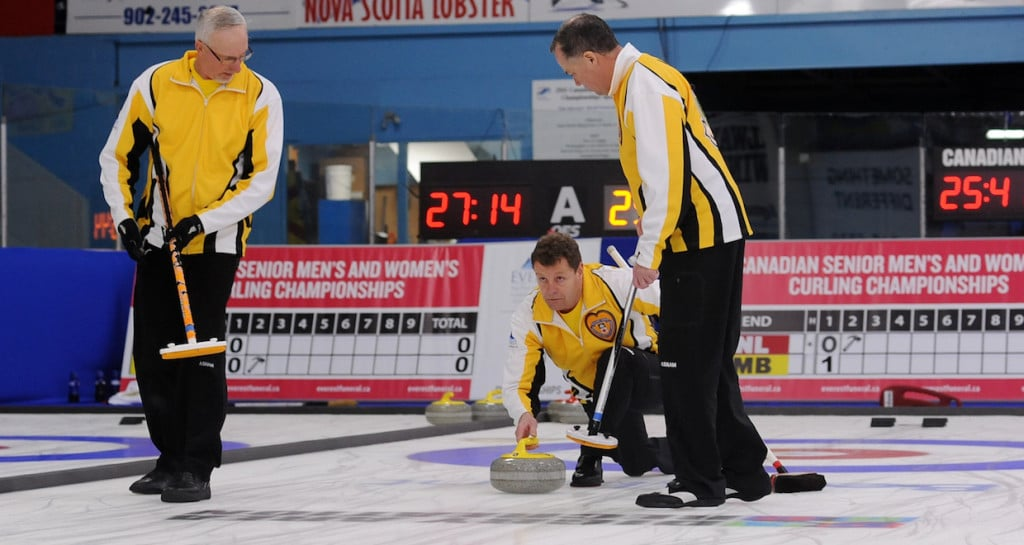 Team Manitoba in action at the 2016 Everest Canadian Seniors Curling Championships in Digby, N.S. (Curling Canada/Mike Lewis photo)