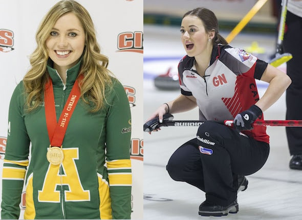 2015 For The Love of Curling Scholarship winners Kristen Streifel, left, and Janique LeBlanc had memorable seasons. (Photos, left, courtesy Ken Reid, GreyStoke Photography; right, World Curling Federation/Marissa Tiel)